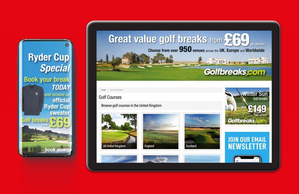 Golfbreaks.com tablet mobile mockups